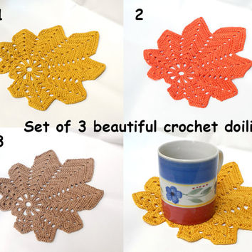 Autumn Leaves colorful crochet doily set of three doilies in soft earthy colors