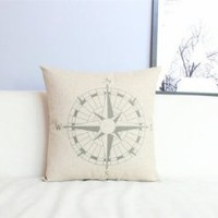"""Cotton and Flax Decorative Pillow Case Pillow Cover Case 18"""" x 18"""" Square Shape Compass Printed Surface PDP 0519"""