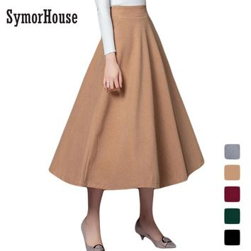 Europe&America New Winter Skirt 2017 Autumn Fashion Women's Long Woolen Skirts A-line Wool Skirts 5 Color Casual Skirts female