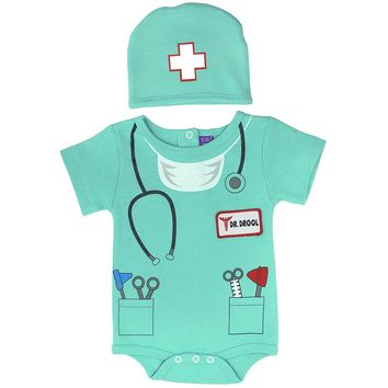 Sozo Unisex-Baby Newborn Doctor Bodysuit and Cap Set