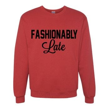 Fashionably Late Red Pullover Oversized Sweatshirt