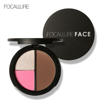 FOCALLURE 3 Colors Palette Shimmer Bronzers and Highlighters Powder Makeup Blusher Highlighter