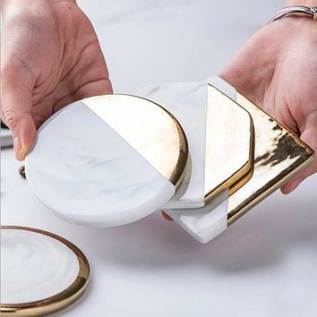 CFen A's Gold Marble Coasters Ceramic Coaster Tea Cup Pad Round Table Mat Coaster Coffee Tea Cup Place Mats 1pc