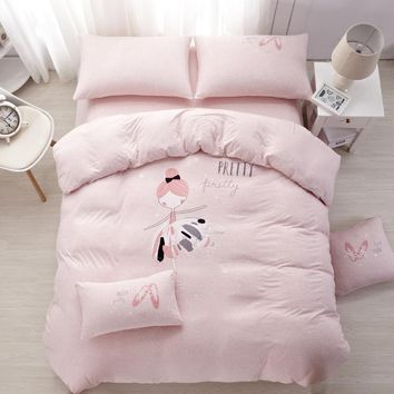 100%cotton Knitted Exclusive Bedding Set Ballet girl for kids safety standards Duvet Cover set Bedsheet Twin/Queen size 3/4/5/6p