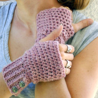 Rose crochet button wrist warmer, arm warmers, fingerless gloves mittens