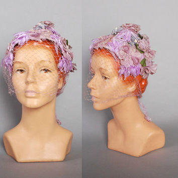 1950s LAVENDER Peaked Floral HAT / 50s 60s Whimsical Millinery Flowers Hat with Veil