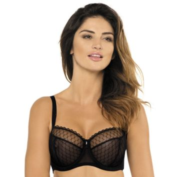 Sheer Mesh Bra Full Figure Cups Gorteks Adele