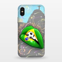 Brazil Flag Lipstick Soccer Supporters on Sensual Woman's Lips – StrongFit iPhone X Cases
