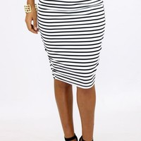 STRIPPY PENCIL SKIRT