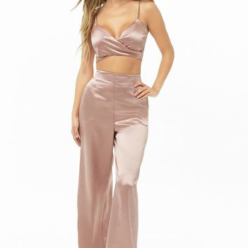 Satin Cropped Cami & Pants Set