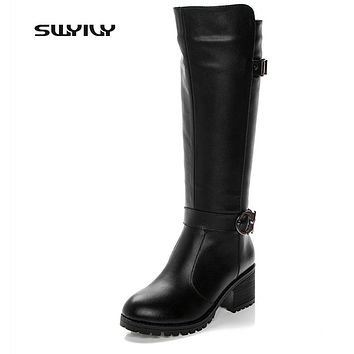 Thick Cashmere Flocking Side Zipper Snow Boots Genuine Leather Knee High Boots 2017 New Winter Rubber Sole Women's Shoes