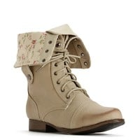 Natural Lace Up Back Zipper Combat Boots