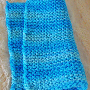 Hand crafted knit dish cloth-Blue