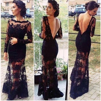 Black Backless Floral Lace Maxi Dress