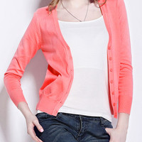 Pink V Neck Buttons Knit Long Sleeve Cardigan