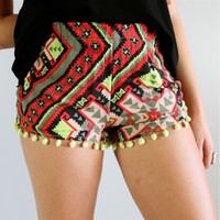 FESTIVAL TRIBAL AZTEC GEO PRINTS GREEN POM POM HEM BEACH SHORTS XS S M L