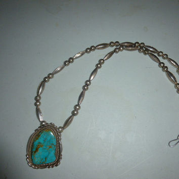 Vintage Native American Large Turquoise Pendant on Sterling Silver Beaded Necklace