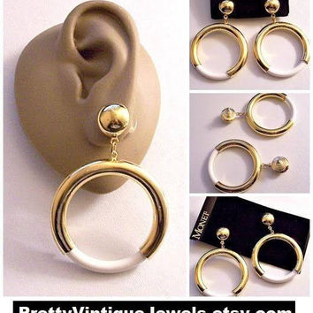 Monet White Jumbo Hoops Pierced Post Stud Earrings Gold Tone Vintage Extra Large Round Button Tube Open Dangle Ring Lucite Bottom Accent