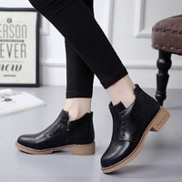 Buy YIVIS Faux Leather Ankle Boots | YesStyle