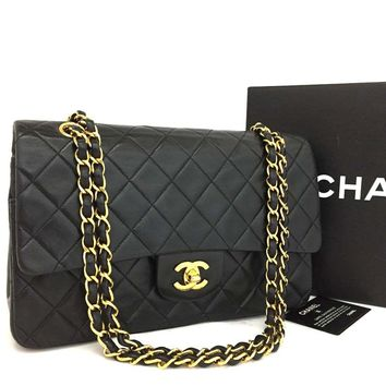 CHANEL Double Flap 25 Quilted CC Logo Lambskin w/Chain Shoulder Bag Black/bCAF x