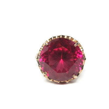 Huge 14K Antique 15 Carat Ruby Statement Ring Size 7