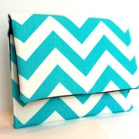 Small Clutch in Turquoise Chevron Zig Zag