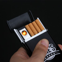 Multifunctional Cigarette Case with Rechargeable Electronic USB Lighter Cigarette Case Windproof Flameless Lighter