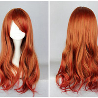 Promotion Copper Red Ombre 65cm Long Loose Weave Lolita Cute Cosplay Wig,Colorful Candy Colored synthetic Hair Extension Hair piece 1pcs WIG-362A