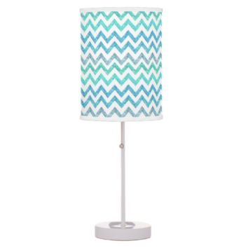 Girly Summer Sea Teal Turquoise Glitter Chevron Table Lamps