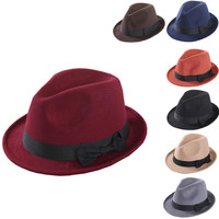 Lightweight Bow Decoration Wool Felt Fedora Hat