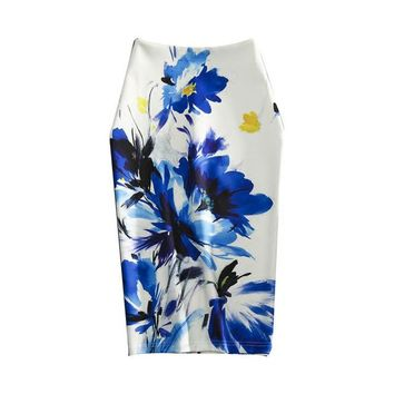 Floral Print Pencil Skirt High Waist Vintage Knee Length
