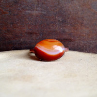 Red Banded Agate Ring - Statement Ring - Banded Agate - Raw Stone Ring - Copper Ring - Semiprecious Stone Ring - SIZE 5.5