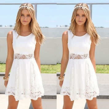 Vestidos 2016 New Arrival Sexy Slim Summer Dress Women Fashion Casual Sleeveless O-neck White Lace  A-line Mini Dress  X0187