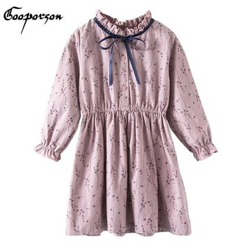 Girls Vintage Long Sleeve Dress Violet Princess Autumn Outerwear Clothes Dress Casual Elegant Baby Girl Clothing Unique