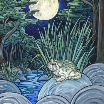 Moonlight Toad Original Acrylic Painting