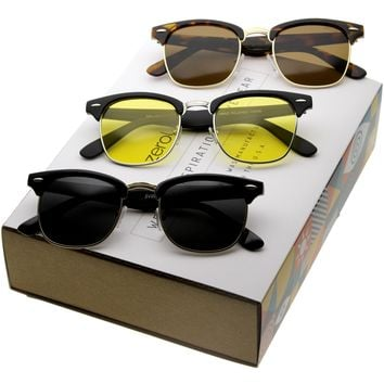 Retro Classic Horned Rim Half Frame Polarized Lens Sunglasses C044 [Promo Box]