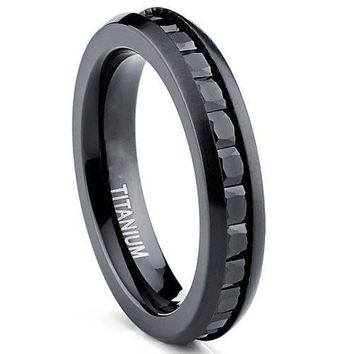 4MM Black Brushed Princess Cut Ladies Eternity Titanium Ring Wedding Band with Black Cubic Zirconia CZ