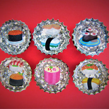 Sushi Silver Confetti Upcycled Bottle Cap Resin Magnets Handmade Recycled Reclaimed Repurposed Ceramic Magnet