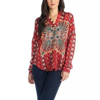 Red Floral Print V-neck Long Sleeve Chiffon Shirt