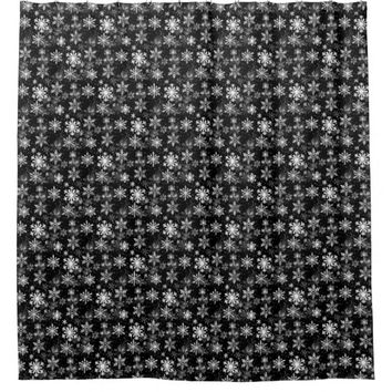 Snowflake Black and White Shower Curtain