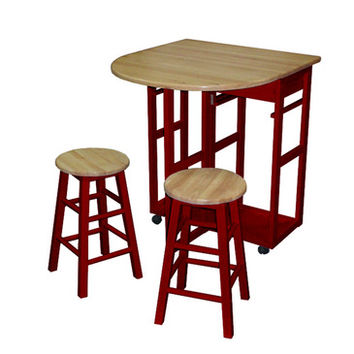 Yu Shan Breakfast Cart with Drop-leaf Table In Red