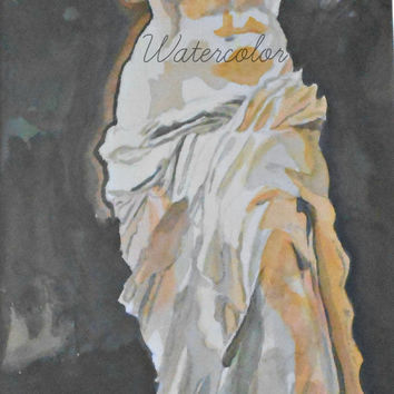 Venus de Milo watercolo print.  Greek Statue. Ancient Greece. Nude painting. Nude sculpture. Romantic decor. Nude watercolor. Venus painting