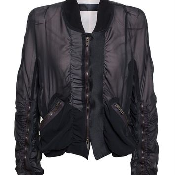 Ruched Silk Bomber Jacket - HAIDER ACKERMANN
