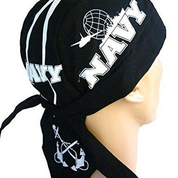 Skull Cap Biker Caps Headwraps Doo Rags - US Navy on Black