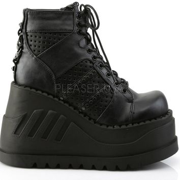 Black Stomped Out Rave Platform Shoes