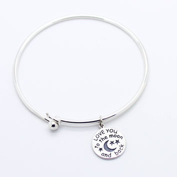 LOVE YOU sterling silver bangle bracelet