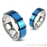 316L Stainless 2 Tone Double Layered Ring with Blue IP Spinning Center - Size:12