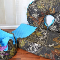 Mossy Oak Camo and Blue Bumbo Cover, Changing Pad Cover and Boppy Pillow Cover Set