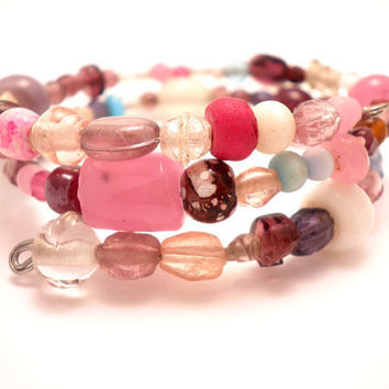 Wrap Around Bracelet in Pink and Purple by Septagram on Etsy