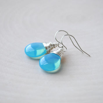 Czech Glass Earrings, Drop Earrings, Aquamarine Blue Glass Earrings, Wire Wrap Earrings